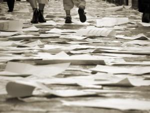 Stock photo: Walking on the papers (c) rodrigovco